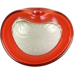 Alfredo Barbini Murano Orange White Gold Flecks Italian Art Glass Bowl Dish