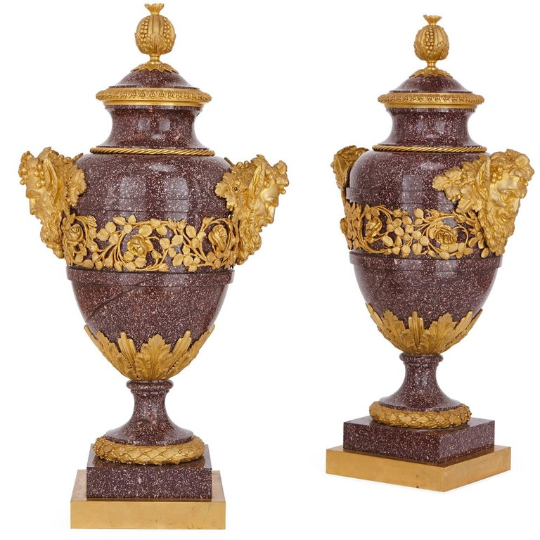 Pair of French Antique Gilt Bronze Mounted Porphyry Vases For Sale
