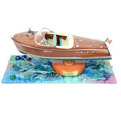 Italian wooden Model of the Riva Ariston in glass case