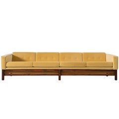 Saporiti Sofa in Golden Yellow Reupholstered Velvet and Rosewood