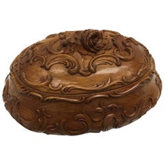 Carved Wood Black Forest Brienz Box with Floral Decor