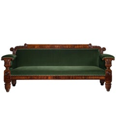 English 19th Century Regency Mahogany Sofa in Green Velvet Design by John Taylor