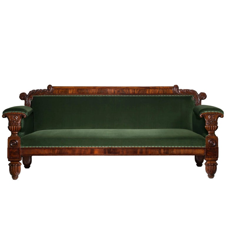 English 19th Century Regency Mahogany Sofa in Green Velvet Design by John Taylor