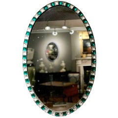 18th Century Green and White Waterford Glass Oval Mirror
