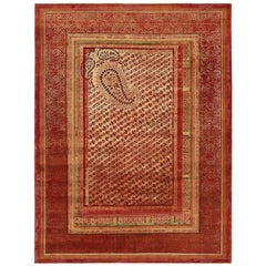 """Paisley Panorama"" Red Hand-Knotted Area Rug Wool, Silk"