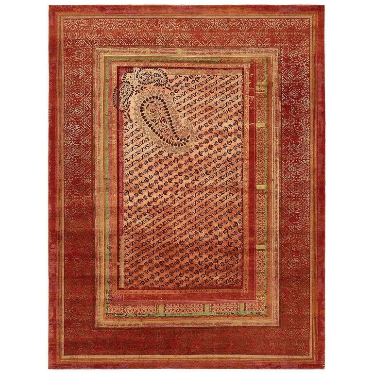 """""""Paisley Panorama"""" Red Hand-Knotted Area Rug Wool, Silk For Sale"""