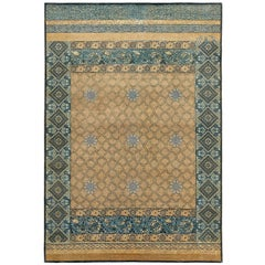 """Mahtab Bagh"" Blue Beige Hand-Knotted Area Rug"