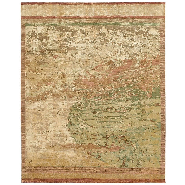 """""""Cosmos Influence"""" Gold Hand-Knotted Area Rug For Sale"""