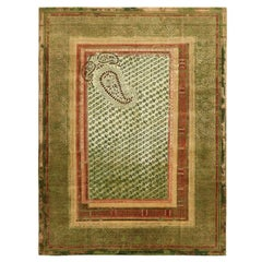 """Paisley Panorama"" Green Hand-Knotted Area Rug"