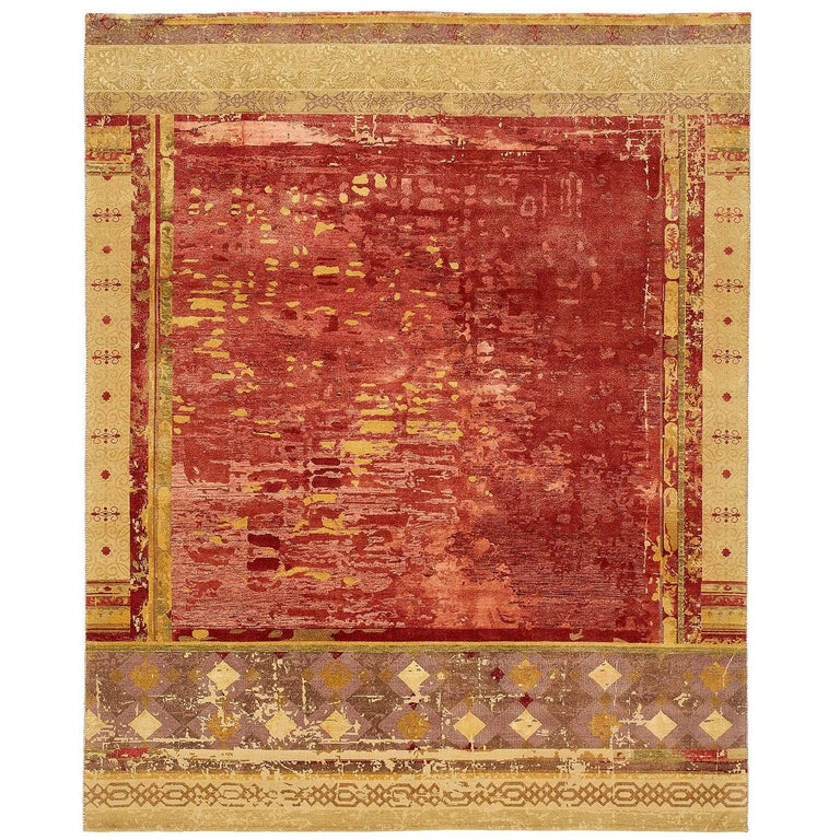 """""""Urban Maze"""" Red Brown Hand-Knotted Area Rug For Sale"""