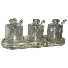 Vintage Italian Mid-Century Modern 3 Piece Jam Or Spice Set Of Jars
