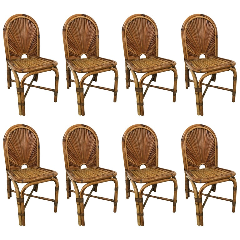 "Set of Eight Gabriella Crespi ""Rising Sun"" Dining Chairs"