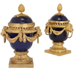 Louis XVI Style Gilt Bronze and Porcelain Pot-Pourri Urns