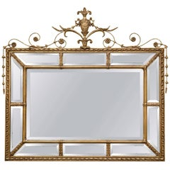 Adams Style Beveled Mirror in Finely Carved Frame