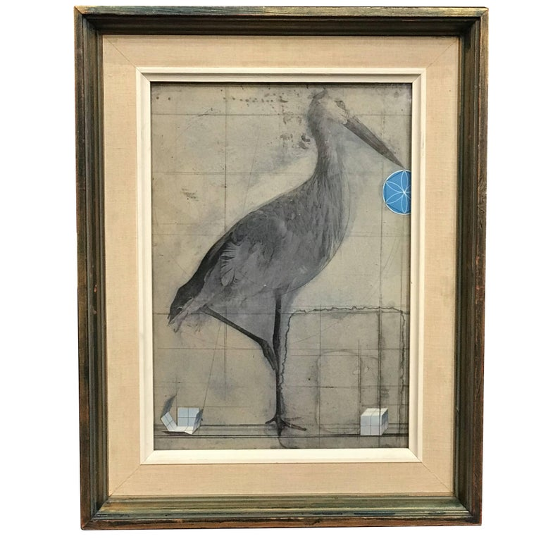 Joseph Cornell Mixed Media Collage with Graphite and Paper Elements