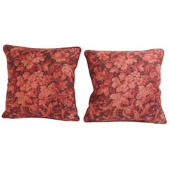 Pair of Vintage Red and Pink French Printed Linen Floral Decorative Pillows