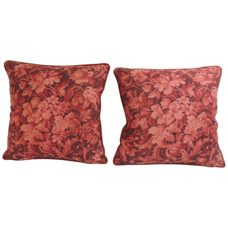 Pair of Vintage Red and Pink French Printed Linen Floral Decorative Pillows For Sale at 1stdibs