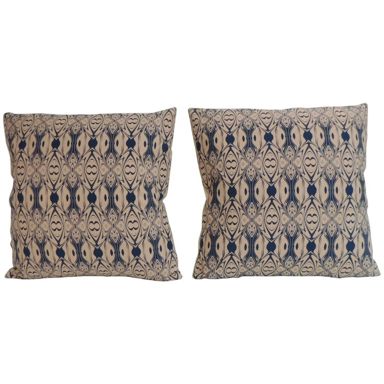 Pair of Modern Blue and Pink English Decorative Pillows