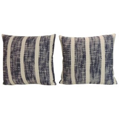Pair of Vintage Indian Blue and White Woven Stripes Decorative Pillows