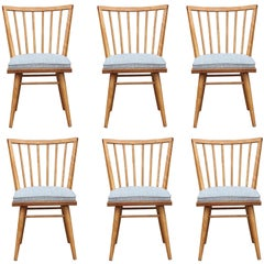 Set of Six Leslie Diamond for Conant Ball Modern Maple Dining Chairs