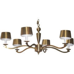 1940s French Designer Brass Chandelier