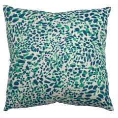 Cheetah Vision Pillow in Color Grassland 'Blue and Green on Cream'