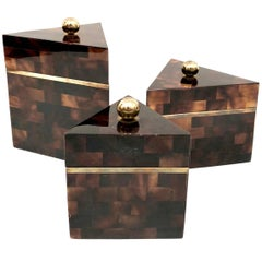 Tessellated Stone and Brass Canister Set by Marquis Collection of Beberly Hills