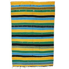 Vintage Berber Moroccan Kilim with Colorful Stripes and Modern Bohemian Style