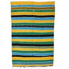 Vintage Berber Moroccan Kilim Rug, Striped Kilim Area Rug