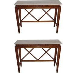 Pair of Walnut Console Tables, Italy, 1950s