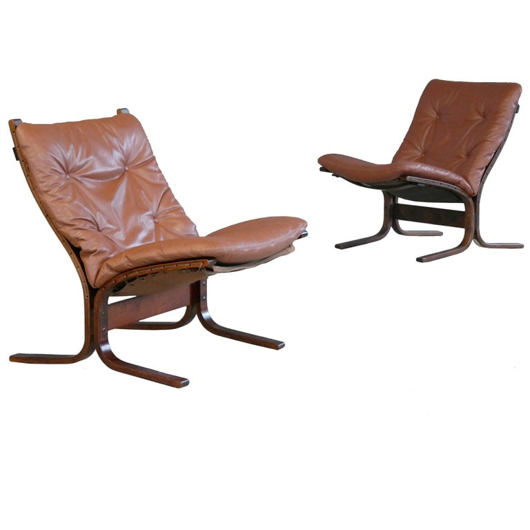 Ingmar Relling Pair of Siesta Sling Chairs in Cappuccino Leather for Westnofa