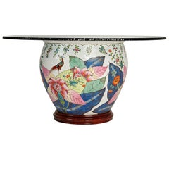 Asian Glazed Porcelain Urn Base Dining Table with Fractured Edge Glass Top
