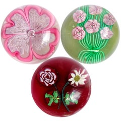 Fratelli Toso Murano Millefiori Flower Bouquet Italian Art Glass Paperweights