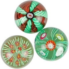 Toso Murano Green Orange Millefiori Flower Italian Art Glass Paperweights Set