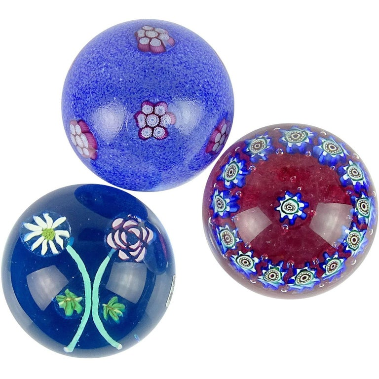 Fratelli Toso Murano Blue Millefiori Flower Italian Art Glass Paperweights Set