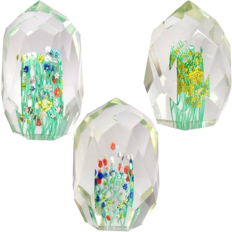 Toso Murano Millefiori Wild Flower Italian Art Glass Diamond Facet Paperweights