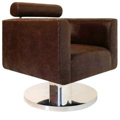 "Luigi Gentile ""Gigi"" Swivel Lounge Chair with Faux Croc Skin Fabric for Couture"
