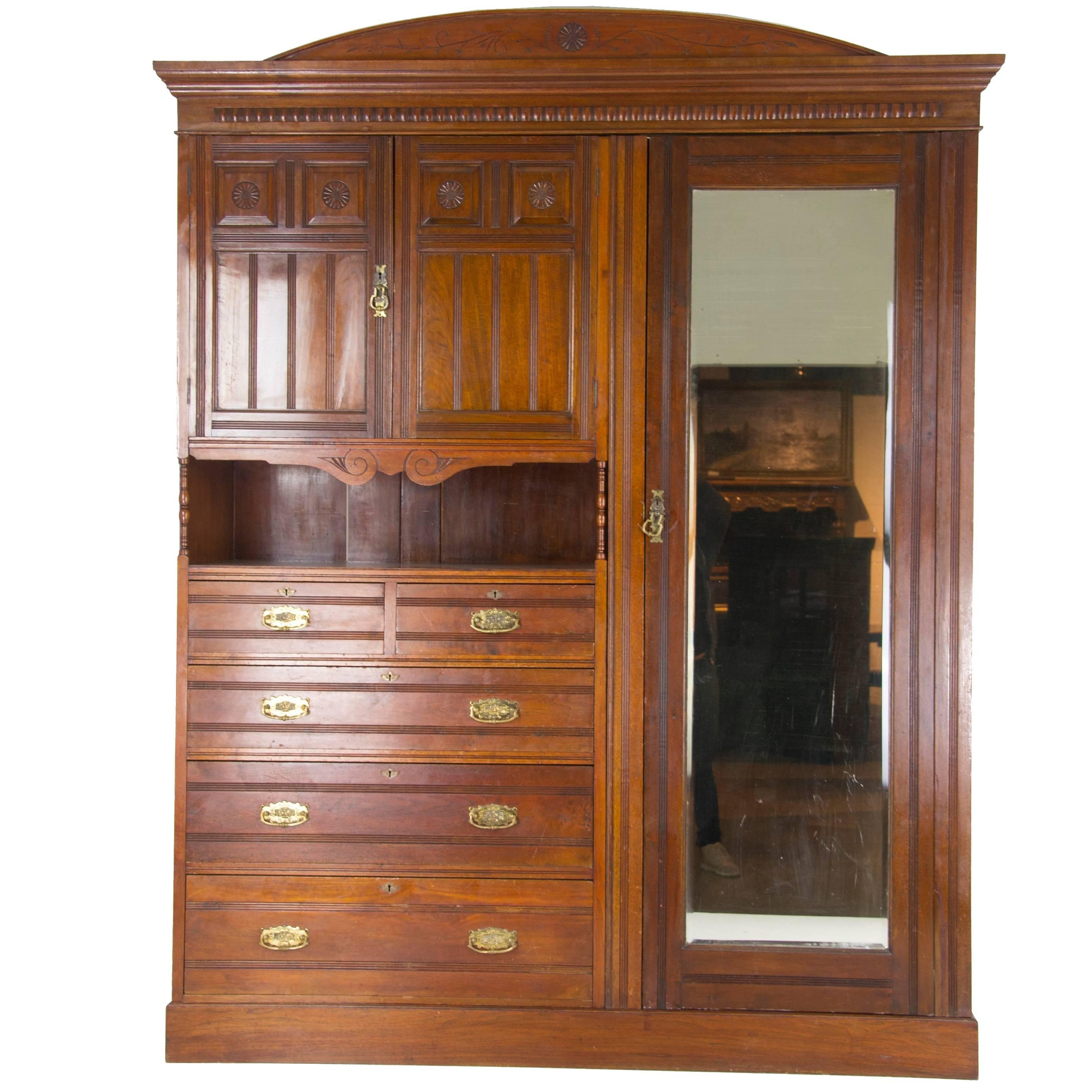 Antique Armoire, Victorian Armoire, Walnut Wardrobe, Scotland, 1880 For Sale
