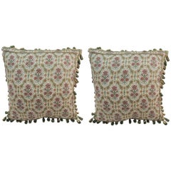Pair of Vintage English Floral Decorative Pillows with Tassels