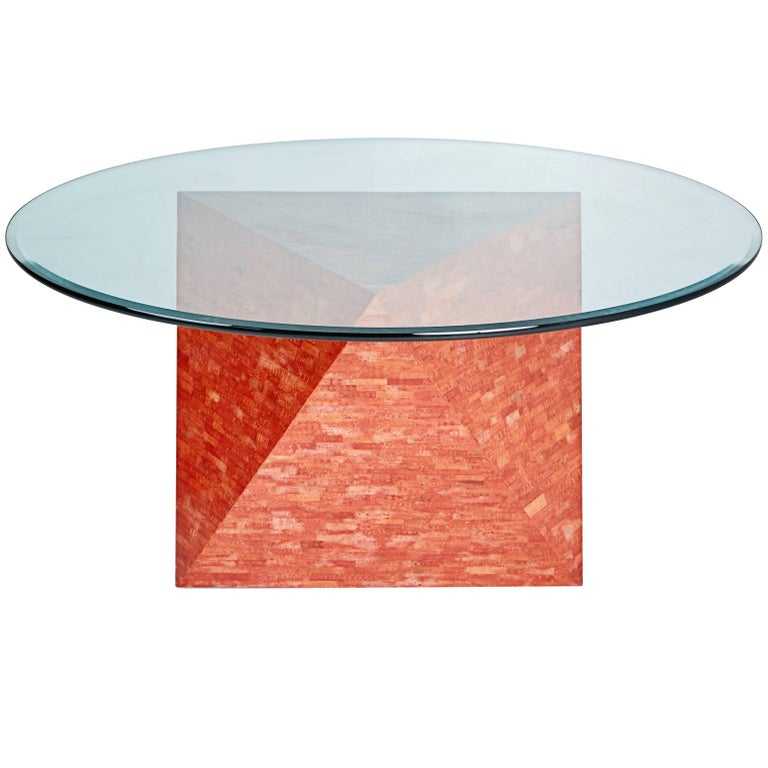 Maitland Smith Red Polyhedral Dining Table, circa 1990, Signed