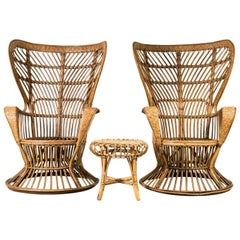 "Pair of 1950s Wicker ""Vimini"" Chairs by Gio Ponti, Italy"