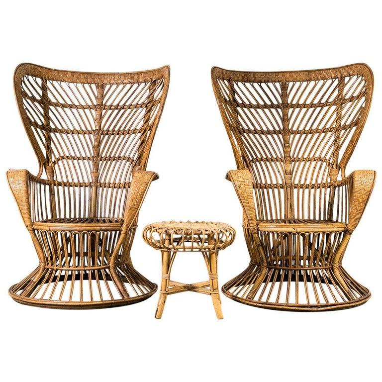 "Pair of 1950s Wicker ""Vimini"" Chairs by Gio Ponti, Italy"