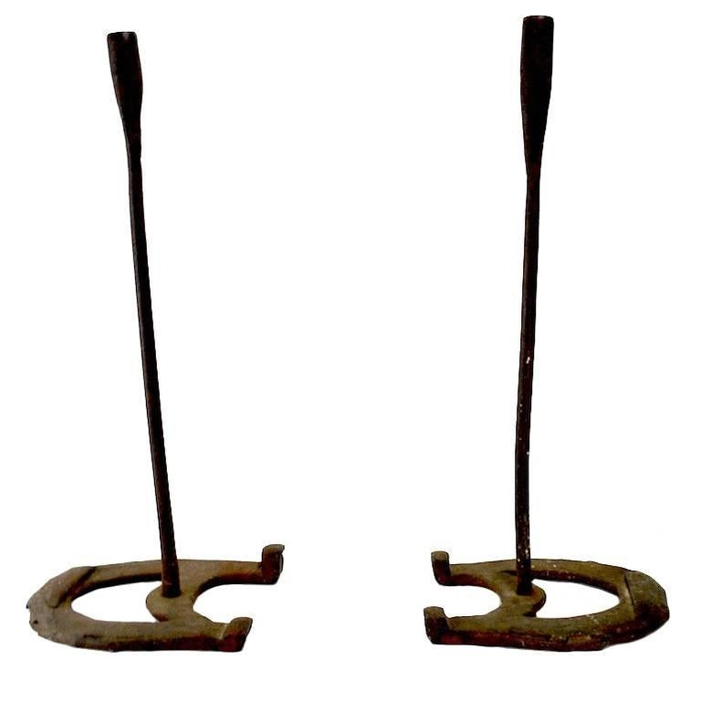 Pr. Rustic Horseshoe Wrought Iron Candlesticks