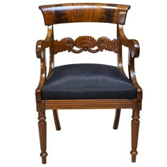 19th Century Biedermeier Armchair with Black Horsehair-Upholstered Seat