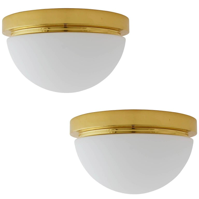 Set of Limburg Flush Mount or Wall Lights, Brass Opal Glass, 1970s