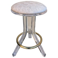 Single 1970s Lucite Vanity or Bar Stool with Brass Footrest