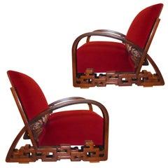 Ein Paar Einzigartiger Beeindruckender Chinesischer Art Deco Sessel