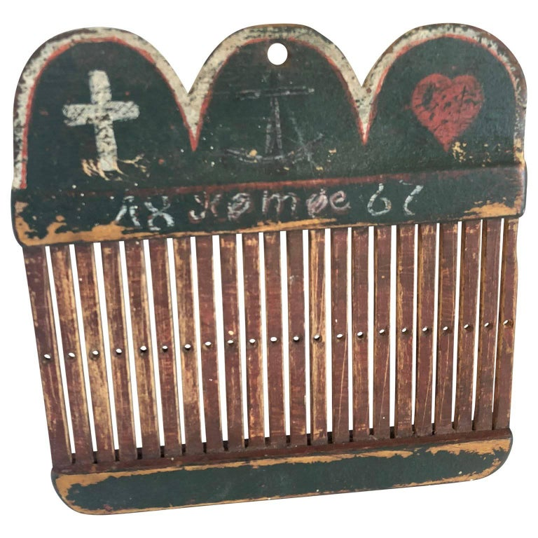 Danish Folk Art Loom Decorated with the Danish Flag, Dated 1867