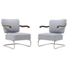 Pair of 1930 Bauhaus Tubular Steel Armchairs by Mücke & Melder