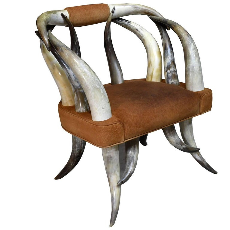 Vintage Rustic American Long-Horn Steer Chair with Leather Seat, circa 1960s